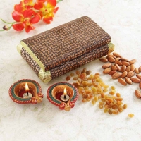 Metal Crafted Wooden Box with Dryfruits and Diyas