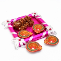 Wooden Tray of Doda Barfi and Earthen Diyas