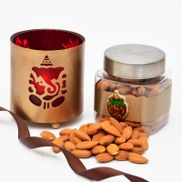 Jar of almonds with Ganesha candle stand