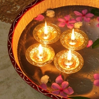 Set of Four Gold Plated Round Shaped Floating Diyas