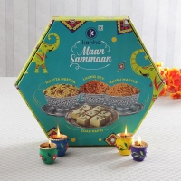 Soan Papdi and Namkeen Hamper with Diyas