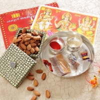 Silver Plated Tikka Thali with Dry Fruit box