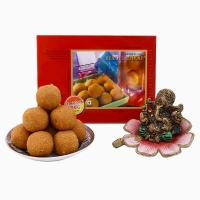 Chhappan Bhog Besan Laddoo with Ganesha Idol