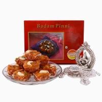 Chhappan Bhog Badam Pinni with Chowki Ganesha