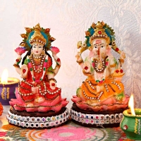 Resin Laxmi Ganesh Sculpture